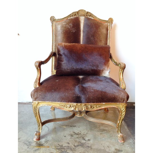 Gilded Hide Arm Chair - Image 5 of 7