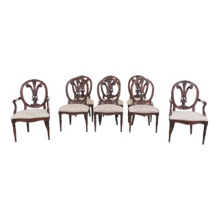 Modern Henredon Carved Mahogany Dining Chairs- Set of 8 For Sale