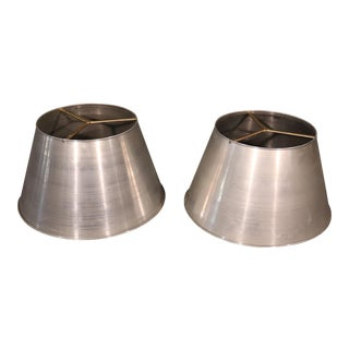 Large Spun Aluminum and Brass Mid-Century Modern Lamp Shades - a Pair For Sale