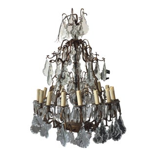 1940s Bronze and Crystal Chandelier For Sale