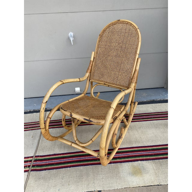 Vintage Mid Century Modern Tiki Bent Bamboo Wood Rocking Chair For Sale - Image 10 of 13