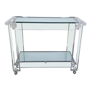 1970s Lucite Mirrored Glass Bar Cart For Sale