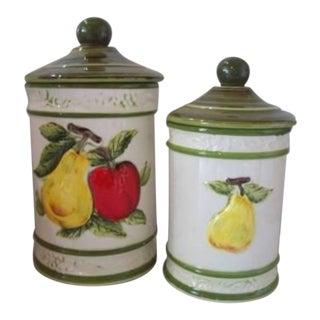 1960s Vintage Fruit Design Porcelain Ceramic Jars - a Pair For Sale
