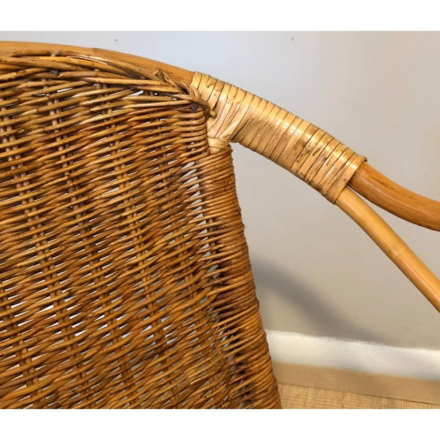 Mid Century Italian Rattan & Sculpted Bamboo Boho Chic Chair For Sale - Image 9 of 12