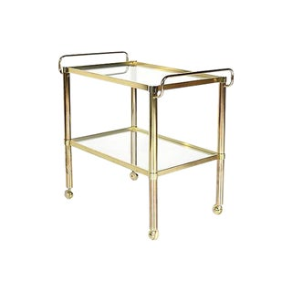 1970s Gilt Metal & Glass Rolling Cart For Sale