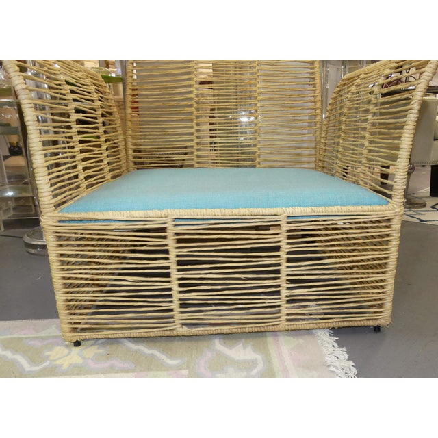 Boho Chic Twisted Raffia Lounge Chairs With Ottomans- a Pair For Sale In Miami - Image 6 of 11