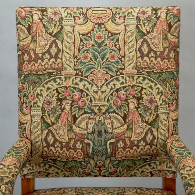 Wood 19th Century French Louis XIV Armchair Covered In Old World Style Tapestry Fabric For Sale - Image 7 of 8