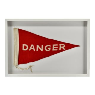 Vintage Danger Flag Large, Wall Art Decor, Rare For Sale