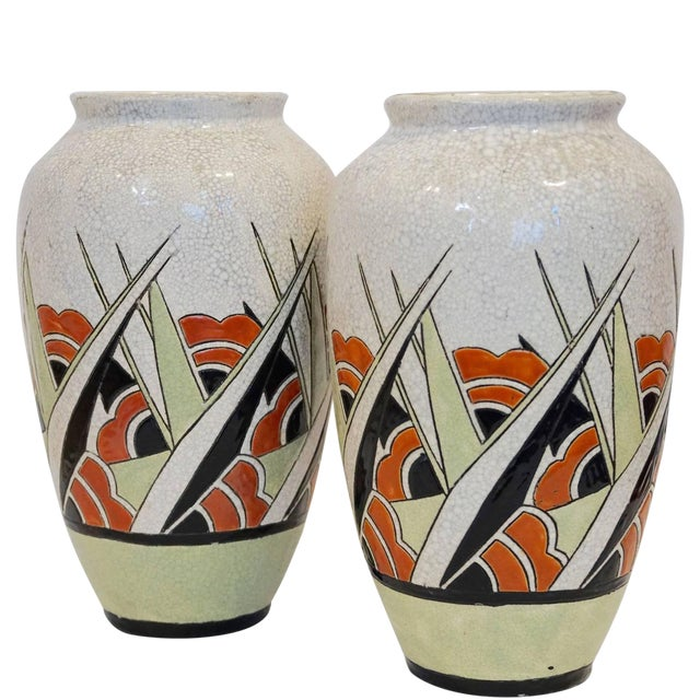 Rare Matching Pair of Charles Catteau Geometric Vases - Image 1 of 6