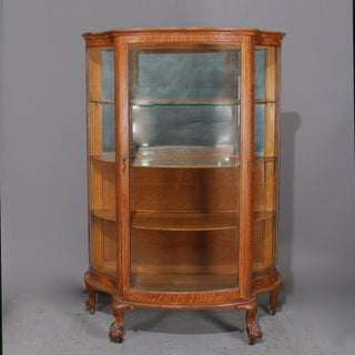 Antique Carved Oak Serpentine Rj Horner Mirrored China Cabinet, Circa 1900 Preview
