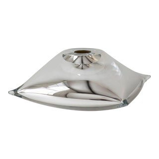 SkLO Pillow Glass Vessel- Square- Silver For Sale