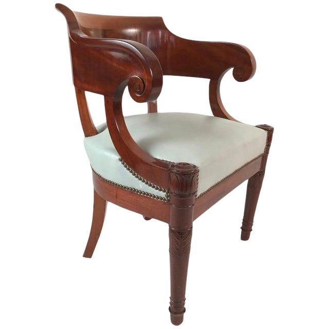 19th Century French Empire Period Mahogany Armchair For Sale