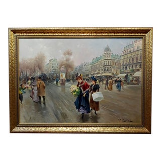 La Belle Epoque Paris Street Scene Oil Painting C.1900s For Sale