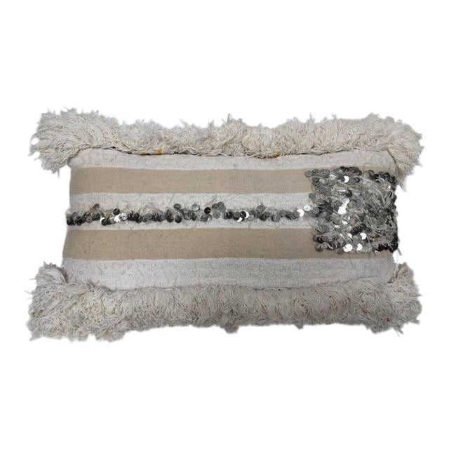 Moroccan Wedding Pillow With Silver Sequins and Long Fringes For Sale