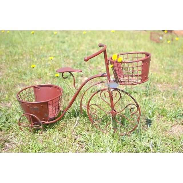 Nostalgic Red Metal Yard Bike Planter - Image 2 of 4