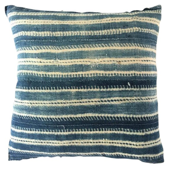 Vintage African Mudcloth Indigo Pillow Cover For Sale
