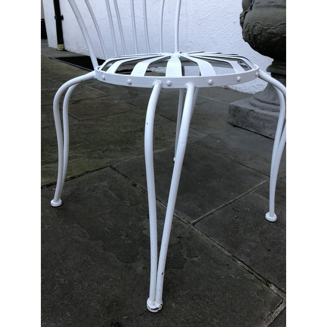 1930s Vintage Francois Carre White Sunburst Iron Garden Chair For Sale - Image 10 of 12