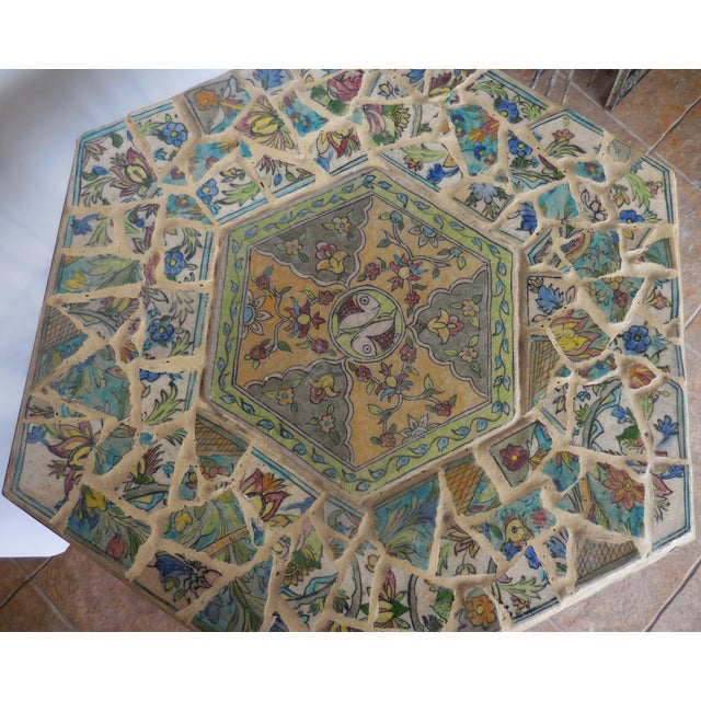 Antique Persian Mosaic Tile Table - Image 11 of 11