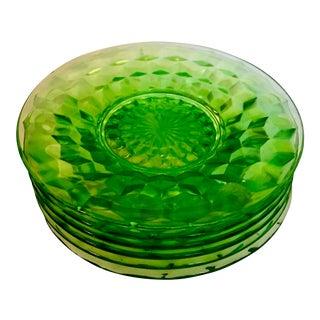 20th Century Art Deco Green Uranium Glass Cube Plates - Set of 6 For Sale