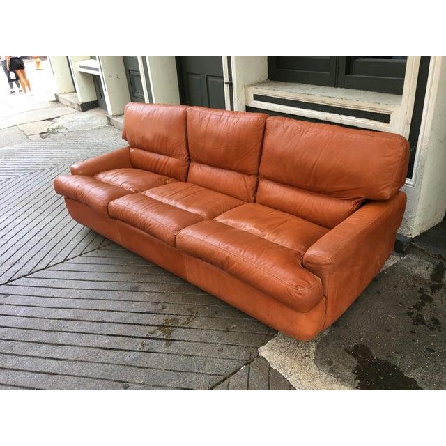 1970s Saporiti Burnt Orange Leather Sofa For Sale - Image 5 of 12