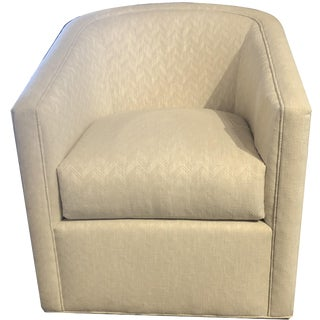 Pair of Contemporary Swivel Chairs With Tone on Tone Chevron Fabric