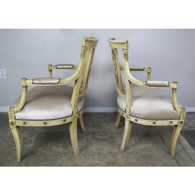 Pair of 1930s Italian Neoclassical Painted Armchairs W/ Urns For Sale In Los Angeles - Image 6 of 12