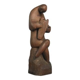 Modernist Wood Sculpture Harp Player Musician Figure Mid Century Modern Art For Sale