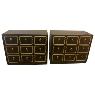 Pair of Ebony Dorothy Draper Espana Bachelor Chests, Nightstands or Commodes For Sale