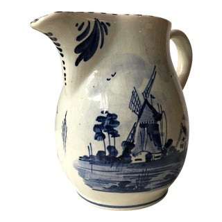 Delftware Pitcher With Windmill and Floral Scenes For Sale