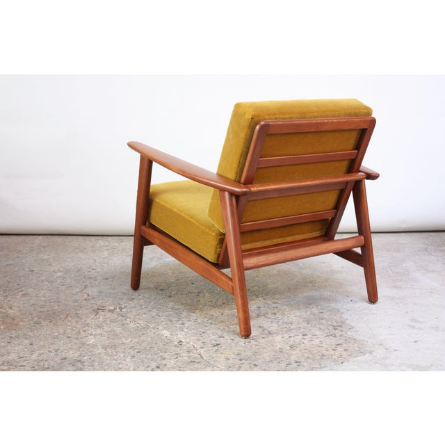 Danish Modern Reclining Lounge Chair in Ochre Mohair For Sale In New York - Image 6 of 13