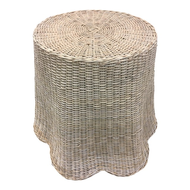 Vintage Draped Wicker Center Table For Sale