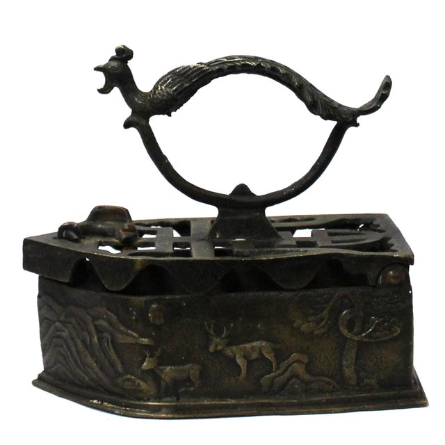 Chinese Handmade Metal Bronze Color Old Fashion Iron Shape Display For Sale In San Francisco - Image 6 of 7