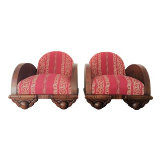 Danish 1930s Art Deco Club Chairs - A Pair For Sale