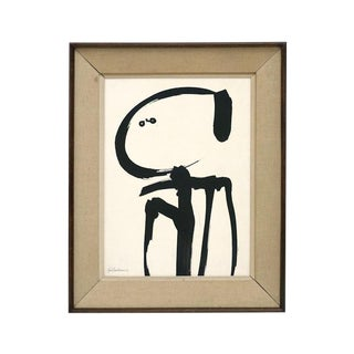 Abstract Figural Charcoal Drawing by Jean Marc Louis, Framed, Signed