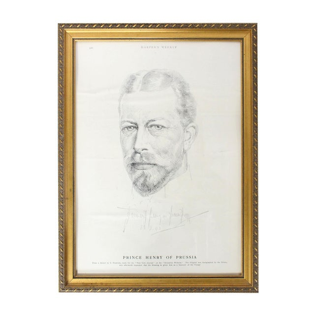 """Antique Framed Prince Henry of Prussia Page From """"Harper's Weekly,"""" 1902 For Sale In Los Angeles - Image 6 of 6"""