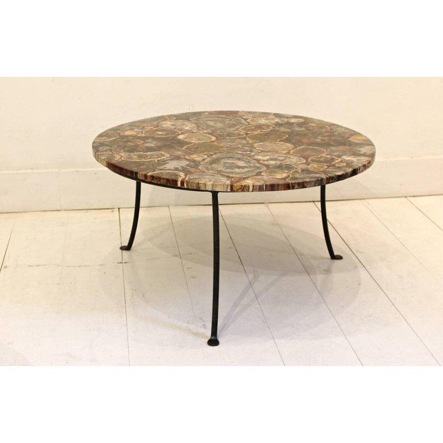 1980s Set of Four Petrified Wood and Wrought Iron Coffee Tables For Sale - Image 5 of 10