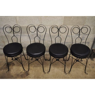 Antique Twisted Heart Back Wrought Iron Ice Cream Parlor Dining Chairs - Set of 4 Preview