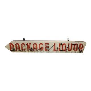 """1950s Porcelain & Neon """"Package Liquor"""" Sign"""