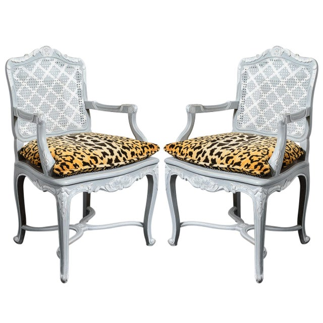 French Painted Regence Style Caned Chairs With Leopard Velvet Print For Sale - Image 13 of 13