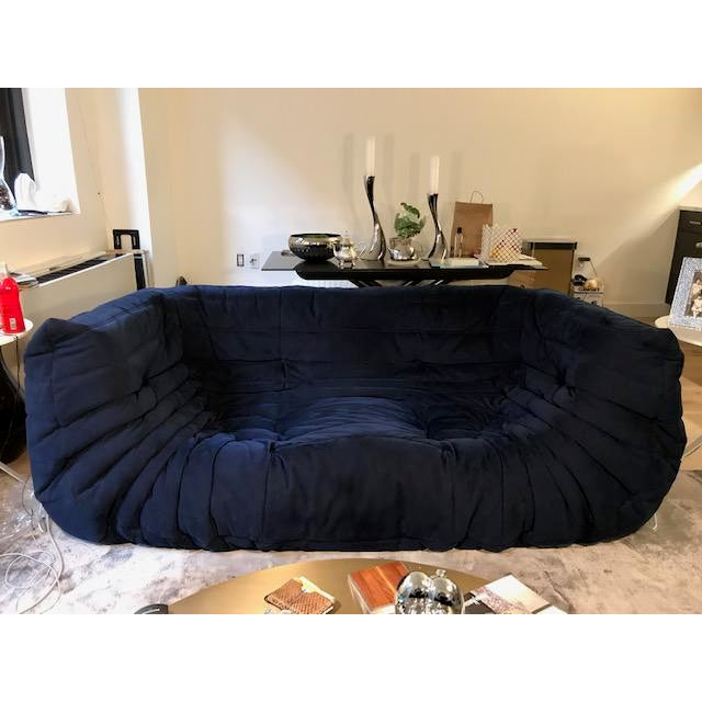 Available is this lightly used and in excellent condition, RARE Togo Medium Sofa WITH ARMS in dark Navy Blue Alcantara...