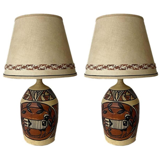 Aztec /Southwestern Pablo Picasso Style Ceramic Table Lamps - a Pair For Sale - Image 11 of 12