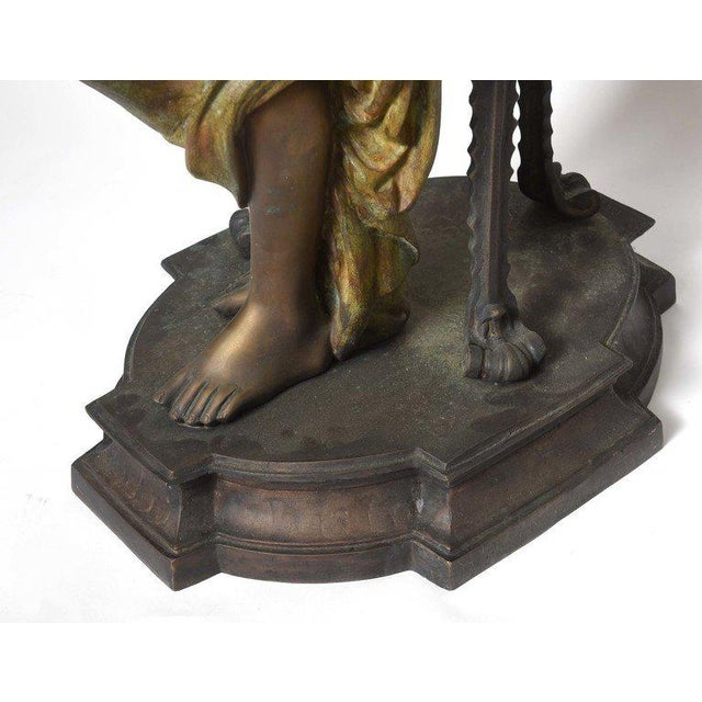Shabby Chic Bronze Orientalist Figural Floor Jardiniere by Peyre For Sale - Image 3 of 11