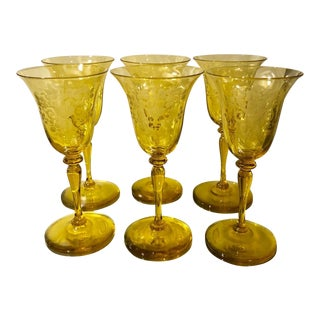 Art Deco Set of 6 Signed Steuben Engraved Yellow Crystal Wine Stems - Frederick Carder For Sale