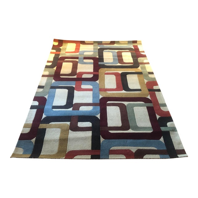 Mid-Century Inspired Hand Tufted Surya Wool Rug - 8′ × 11′ For Sale