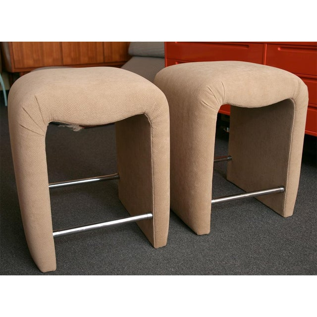 Luxurious Modern Faux Ostrich Upholstered Stools 1970s - Image 4 of 13