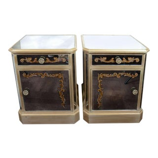 Pair of 1940's Hollywood Mirrored End Tables/Night Stands For Sale