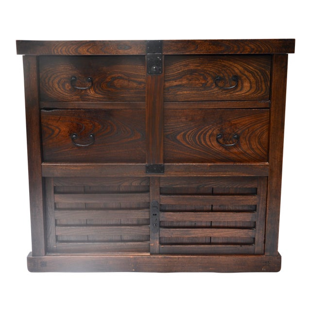 Antique Japanese Choba Tansu With Locking Bar For Sale