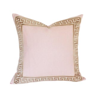"""Pale Pink Linen With Greek Key Border Pillow Cover 18"""" Sq"""