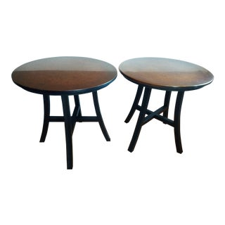 1990s Crate and Barrel Collina Copper and Black Metal Side Tables - a Pair For Sale