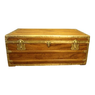 1900s Camphor Wood and Brass Cabin Trunk For Sale